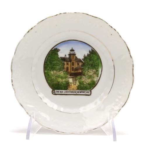 (Collector Plate, Porcelain, The Old Lighthouse, Newport,)