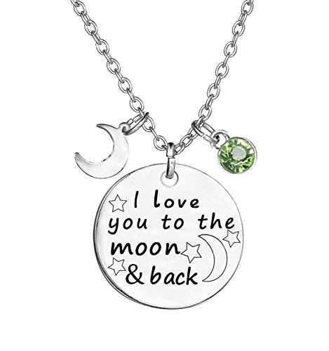 - TISDA Birthstone Crystals Necklace,I Love You To The Moon And Back Jewelry Necklace (August)