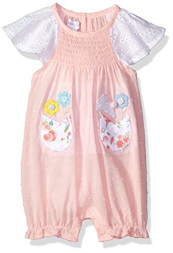 Mud Pie Baby Girls Easter Bunny Smocked One Piece Bubble Playwear, Pink, 0-3 Months