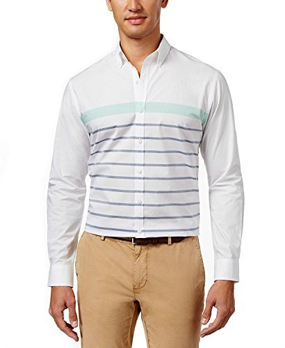 Club Room Mens Cotton Striped Button-Down Shirt White L from Club Room