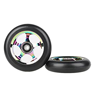 Kutrick Complete 2pcs Aluminum 100mm Neo Chrome Pro Stunt Scooter Replacement Wheels with ABEC-9 Bearing