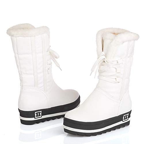 De Piel White Forro Aire Invierno De con Nieve 5UK Libre Botas Botas Mujeres De Impermeable Libre Zapatos 8 Caliente Aire Botín Antideslizante XSWE Al F1vx8zwpq8
