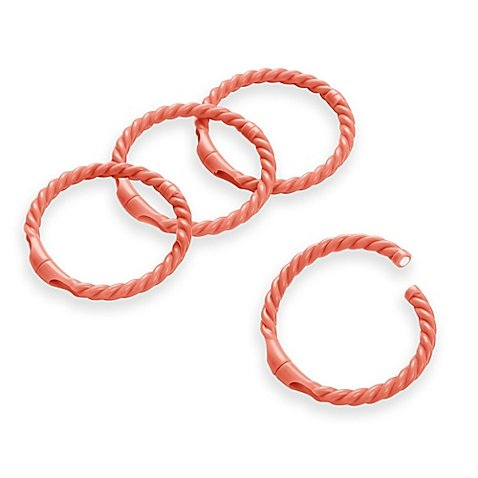 on sale Smart Plastic Rope Shower Curtain Rings in Coral (Set of 12)