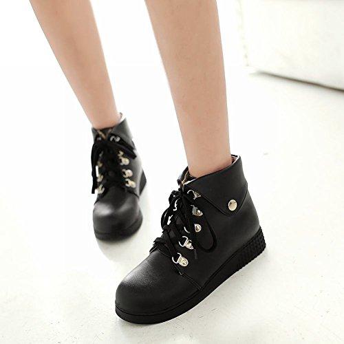 Carolbar Womens Mode Varma Snörning Enkel Komfort Tillfällig Kilklack Boots Svart