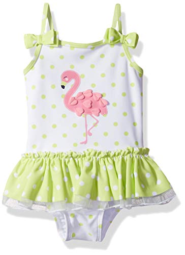 Little Me Kids' Baby and Toddler Girls UPF 50+ One Piece Swimsuit, Sunny Lime/White/Flamingo, 2T