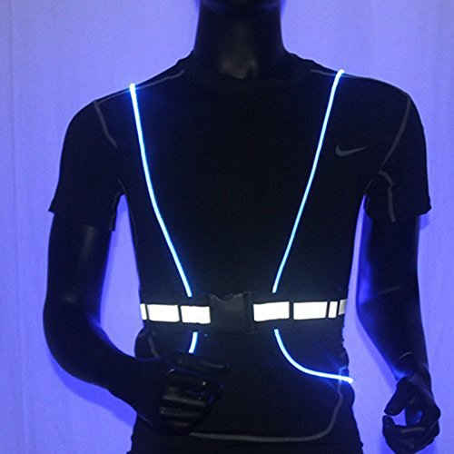 Richermall Cycling LED Safety Vest- Night Riding Reflective Warning Vest Adjustable Belt High Visibility LED for Jogging Hiking(no batteries) (blue) by Richermall (Image #3)