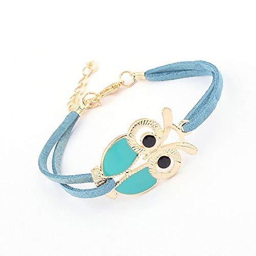 - Spring Deer Korean Vintage Classic Style Owl Leather Bangle Bracelet Adjustable Length Lobster Clasp (Tiffany Blue)