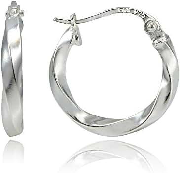 Hoops & Loops Sterling Silver 2mm Twist Small Round Hoop Earrings