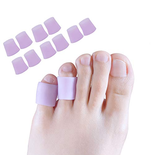 Toe Protectors, Toe Sleeves Silicone Small Gel Corn Protectors for Runners,Blisters,Shoes,Heels,Sandal Purple Pinky Toe Pain Relief 5 (Gel Corn)