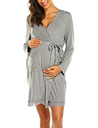 7dad144833779 Women's Robe Maternity Sleepwear Pregnancy Nightgown Nursing Soft Kimono  Bathrobes