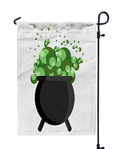 Shorping Holiday Flags for Outside, 12x18Inch Welcome Garden Flag Happy Halloween Witch Cauldron Magic Bubbling Green Goo Cartoon holidayPot for Holiday and Seasonal Double-Sided Printing Yards Flags ()