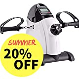 Synteam Portable Handle Pedal Exerciser Arms Legs Mini Exercise Bike with Electronic Display(LWB03,White)