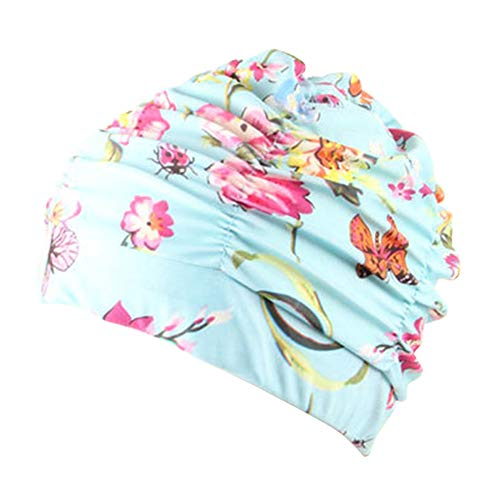 - Yooha Swimming Cap Womens Ladies Fashion Floral Printed Breathable Pleated Stretchable Turban Hat Hair Wrap Sun Cap Headwear for Beach Swimming Bath Spa (Butterfly)