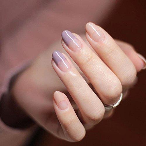 YUNAI Round Head Fake Nails for Women/Girl French Manicure All Match Light  Purple\u0026Nude False Nail Tips