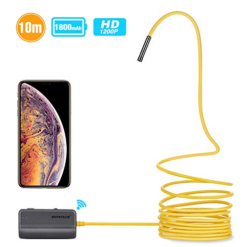 iPhone Endoscope,DEPSTECH Upgraded Semi-Rigid Wireless Borescope WiFi Inspection Camera 2.0 Megapixels HD 1800mAh Lithium Battery Snake Camera for Android and iOS Smartphone Tablet - Yellow 33FT