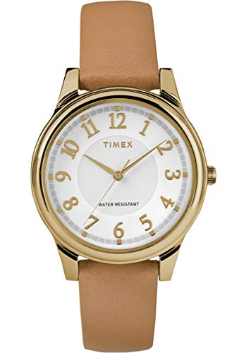 Timex Womens Analogue Classic Quartz Watch with Leather Strap TW2R87000