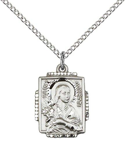 - F A Dumont Sterling Silver St. Maria Goretti Pendant with 18
