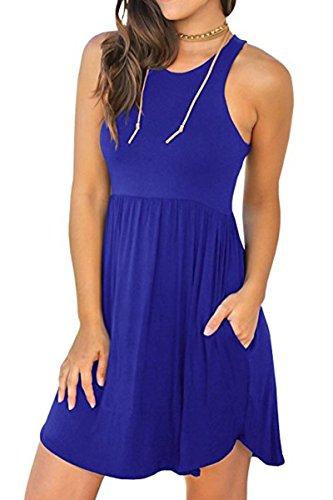 Jennyarn Womens Casual Summer Sleeveless Raceback Mini T-Shirt Dress with Pockets