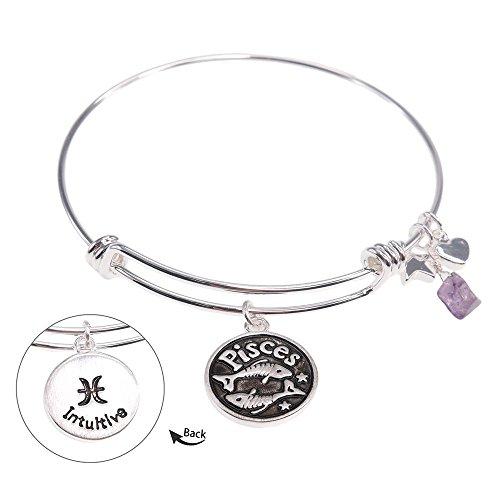 Pisces Zodiac Gemstone Astrology Constellation Horoscope Handmade Brass Bangle Bracelet Silver Jewelry BN611SBR-PIS (Handmade Gemstone Jewelry)
