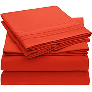 Mellanni Bed Sheet Set - Brushed Microfiber 1800 Bedding - Wrinkle, Fade, Stain Resistant, Deep Pocket - 4 Piece (Queen, Red) (B07BKNYN9J) | Amazon price tracker / tracking, Amazon price history charts, Amazon price watches, Amazon price drop alerts