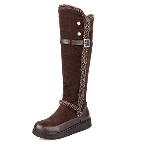 Winter AIWEIYi Boots Brown Womens Knee Boots Elegant Snow Riding Flat High Fur rCIRCcvP