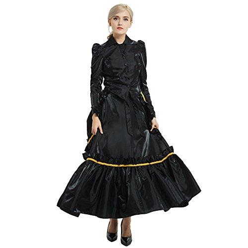 irl Costume Edwardian Dress with Bustle Top Skirt (16, Black) ()