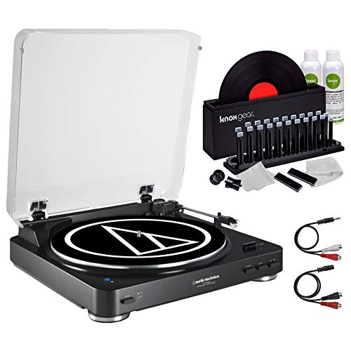 Audio-Technica AT-LP60 Fully Automatic Belt Drive Turntable Black with Knox Gear Vinyl Record Cleaner Kit