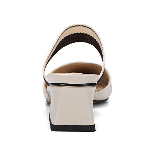 Casuales Mezclados Verano y de Beige Sandalias Femeninos Zapatos Colores Sandalias Gruesa GJDE Zapatillas Señalaron con qz5wBIUU