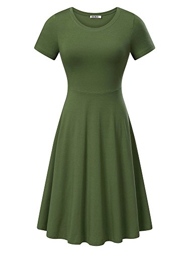 HUHOT Women Short Sleeve Round Neck Summer Casual Flared Midi Dress (Small, Moss Green)