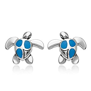 925 Sterling Silver Beautiful Inlay Sea Turtle Post Stud Earrings 12 mm Women Jewelry