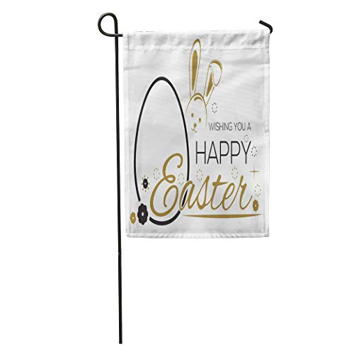 Semtomn Garden Flag Greeting Inscription The Easter Bunny and Eggs Wishing You Happy Home Yard House Decor Barnner Outdoor Stand 28x40 Inches Flag