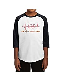 Teen Boys & Girls Funny Anjunalove 3/4 Sleeve Baseball Raglan T-Shirt Jersey Medium Black