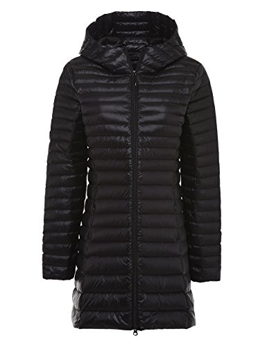 CHERRY CHICK Women's Ultralight Down Parka Jacket (for Spring & Fall) (Medium, Black-YX)