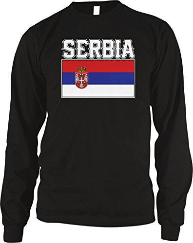 - Amdesco Men's Flag of Serbia, Serbian Flag Thermal Shirt, Black 2XL
