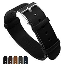 BARTON Leather NATO Style Watch Straps - Choose Color, Length & Width - Black 22mm Standard Band