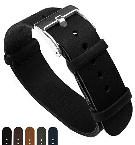 BARTON Leather NATO Style Watch Straps - Choose Color, Length & Width - Black 20mm Standard Band