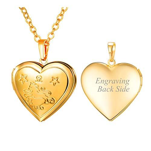 U7 Women Girls Birthday Zodiac Sign Constellations Jewelry Engraved Heart Locket Pendant Necklace, Chain 22