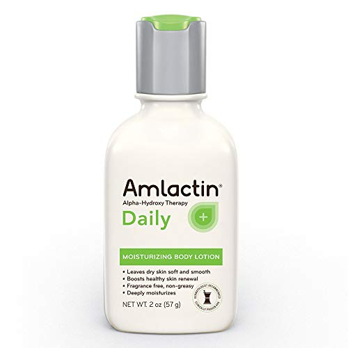 AmLactin Alpha-Hydroxy Therapy Moisturizing Body Lotion with Lactic Acid for Dry Skin, White, Fragrance-Free, 2 Ounce