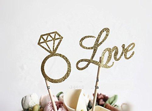 Astra Gourmet Wedding Bridal Shower Cupcakes Toppers Glitter/ Mini Diamond Ring & Love Cupcake Picks Gold Birthday Party Supplies,Set of 20(Diamond Ring&Love) (Mini Gourmet Cupcakes)