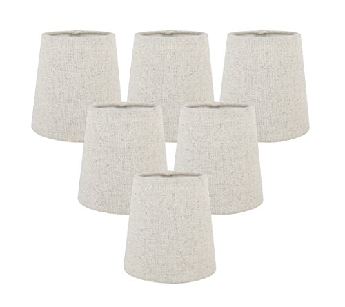 Meriville Set of 6 Natural Linen Clip On Chandelier Lamp Sha