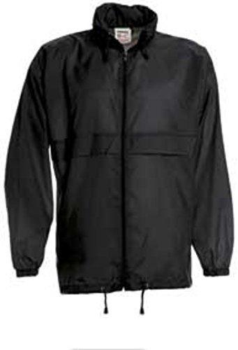 Windjacke Regenjacke Jacke Waserabweisend mit Kapuze viele Farben Größe S-XXXL Black,XXL