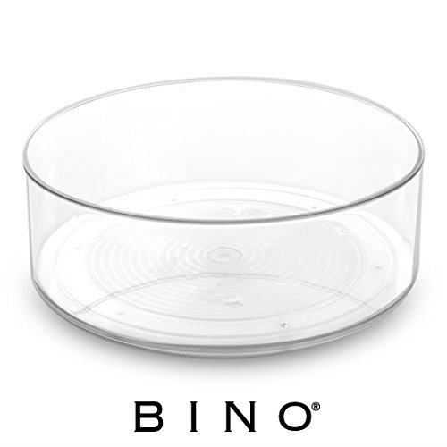 BINO Lazy Susan Turntable Spice Organizer Bin, Clear and Transparent Plastic Rotating Tray For Kitchen Pantry, Cabinet, and (Clear Lazy Susan)