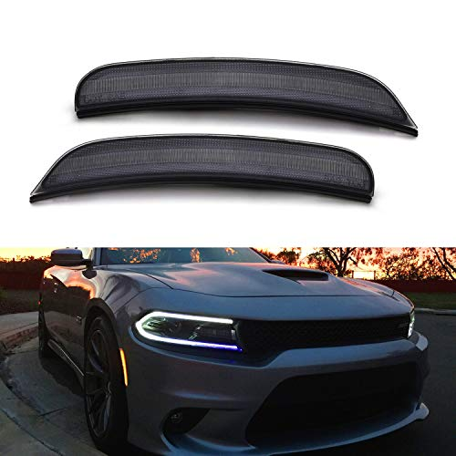 iJDMTOY Smoked Lens Amber Full LED Front Side Marker Light Kit For 2015-up Dodge Charger, Powered by 80-SMD LED, Replace OEM Sidemarker Lamps