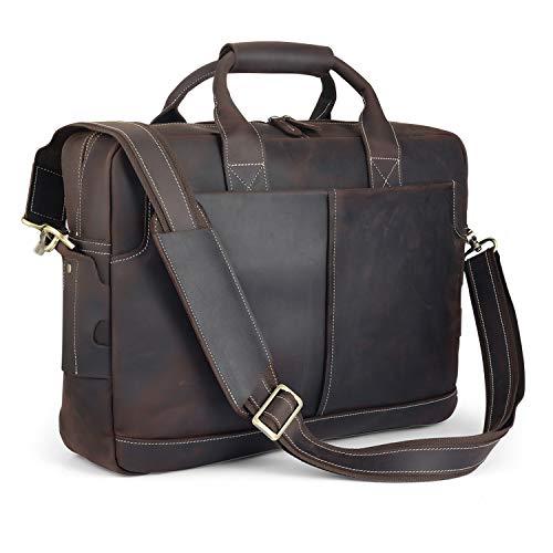 951eed204ca1 VMATE 16'' Genuine Leather Briefcases for Men Laptop Bag Messenger Bag  Shoulder Bag (Dark Brown)