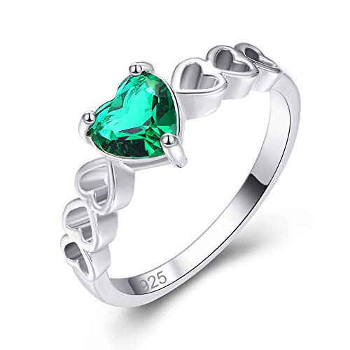 (Humasol 925 Sterling Silver Filled Lab-Created Emerald Heart Band Engagement Ring for Women)