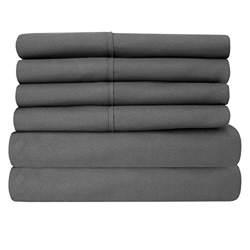 Bed Sheets Queen Size Grey - 6 Piece 1500 Thread Count Fine Brushed Microfiber Deep Pocket Queen Sheet Set Bedding - 2 EXTRA PILLOW CASES, GREAT VALUE - Queen, Gray
