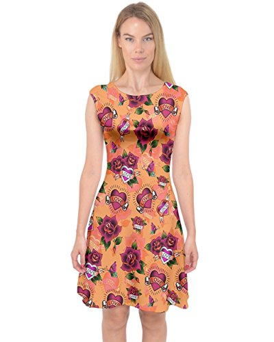 PattyCandy Womens Roses & Heart Tattoos Capsleeve Sexy Midi Dress - 3XL - Heart Rose Tattoo Dress