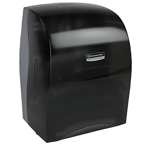 Sanitouch Hard Roll Paper Towel Dispenser (09990), Hands-Free Pull Dispensing, Smoke/Black