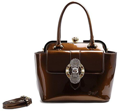 - Brangio Italy Queen's Crown Women's Top Handle Clasp Shoulder Handbag Bronze