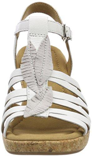 Bianco Con Caviglia Alla Comfort Sandali Donna Kork weiss Sport Cinturino Gabor RntqP8wS
